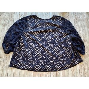 Ryan Wythe Tops - Ryan Wythe patterned netted overlay blouse navy